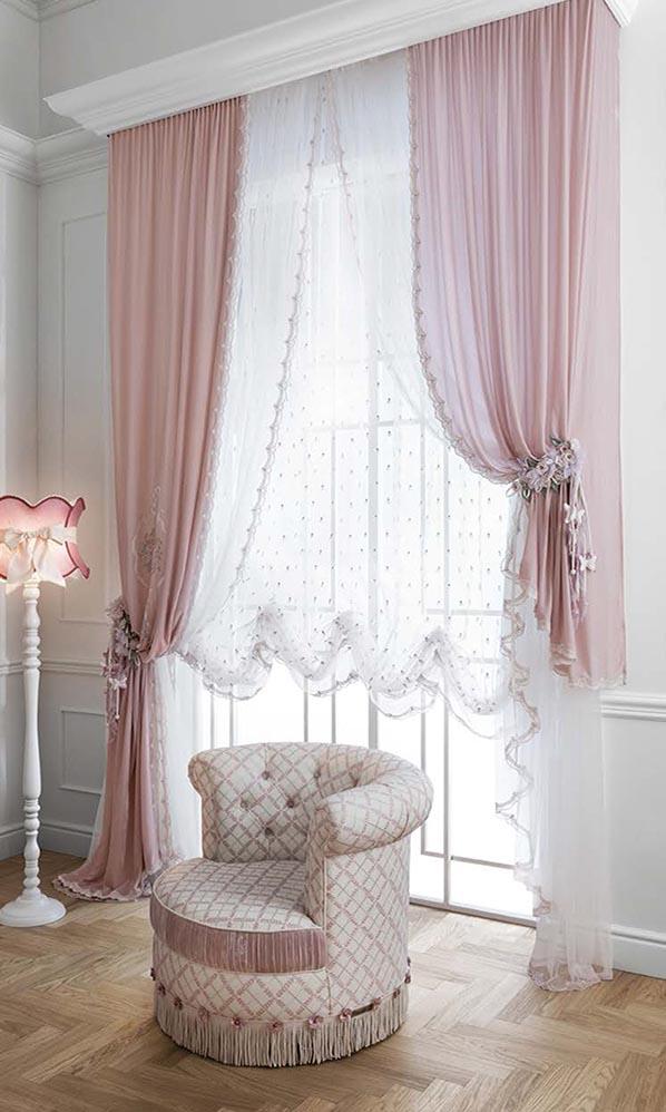Элитные шторы розового цвета Charlotte Pacchetto